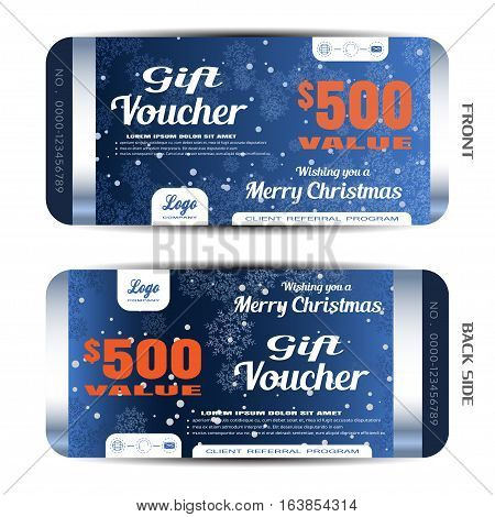 Vector new year gift voucher on the dark blue gradient background with snowflake pattern and snow.