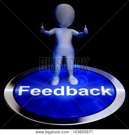 Feedback Button Shows Opinion Evaluation 3D Rendering