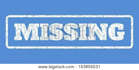 White rubber seal stamp with Missing text. Vector tag inside rounded rectangular banner. Grunge design and dust texture for watermark labels. Horisontal sticker on a blue background.