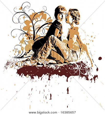 Two lovers on grunge background