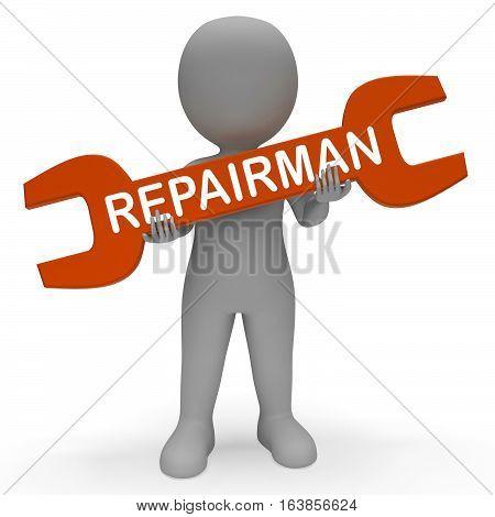 Repairman Spanner Shows Repair Fixing 3D Rendering