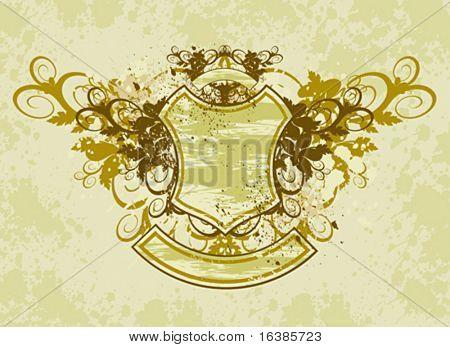 vintage emblem - grunge flowers ornament