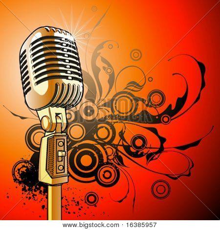 Vintage Mikrofon - Vektor