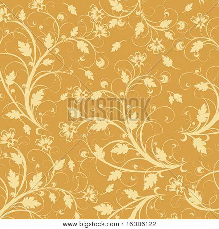 Gelbe Blumen Ornament auf gelbem Grund (Hintergrundbild)