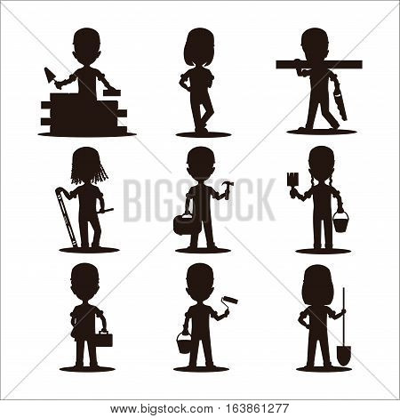 kids builders characters vector illustration. Happy occupation profession flat children. Colorful teenager engineer architect. Construction job people silhouette.