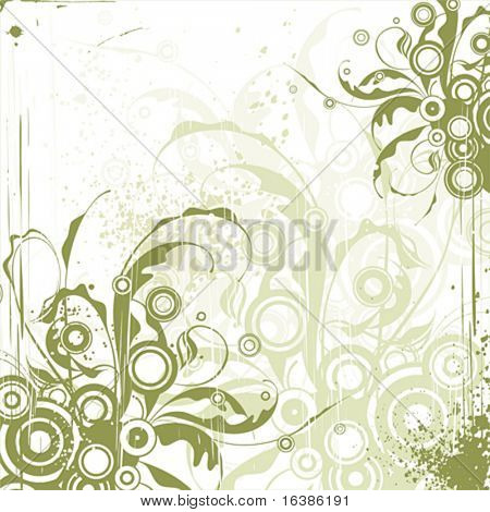 emerald floral ornament on white background