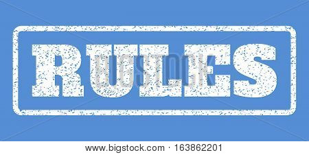 White rubber seal stamp with Rules text. Vector tag inside rounded rectangular frame. Grunge design and dirty texture for watermark labels. Horisontal sign on a blue background.
