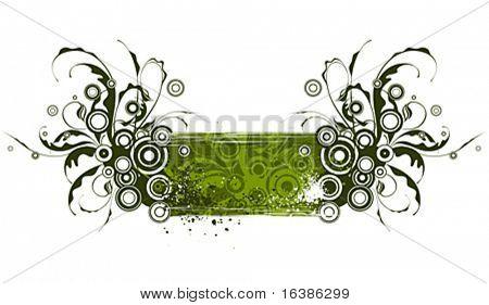 Smaragd floral Ornament auf Grunge hintergrund