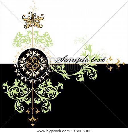 diseño vintage de caligrafía - ornamentan de flores sobre fondo blanco y negro