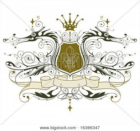 vintage heraldic emblem ( dragons, shield & lily, crown & ribbon )