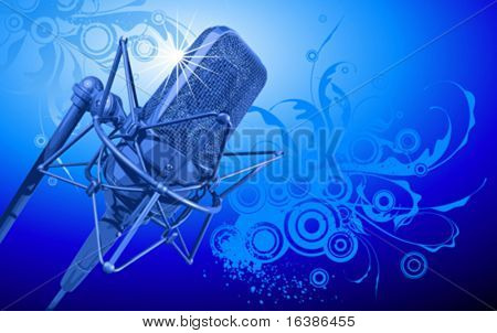 VECTOR professional microphone in beams of blue light