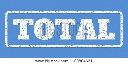 White rubber seal stamp with Total text. Vector caption inside rounded rectangular banner. Grunge design and dust texture for watermark labels. Horisontal emblem on a blue background.