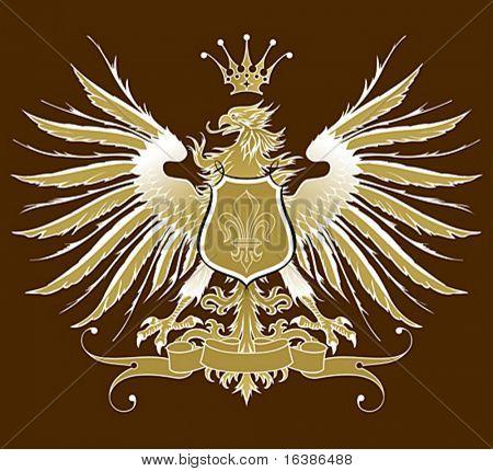 Vintage heraldic emblem ( eagle, crown & ribbon, shield & lily )