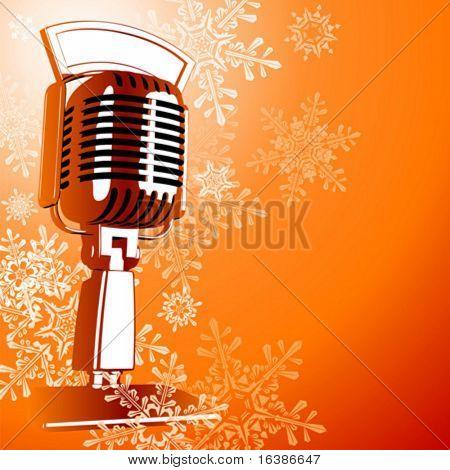 Retro Microphone & Snowflakes
