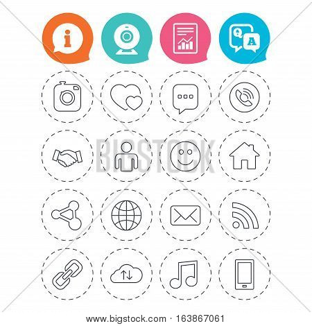 Social media icons. Speech bubble, lovers relationships and human person. Rss, share and mail envelope. Musical note, smartphone and smile. Information, question and answer icons. Vector