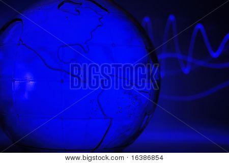 abstrakte Glas Globus (Wasser und kleine Blasen)