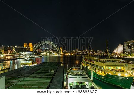 Circular Quay Sydney Australia at night from Circular Quay station.JAN 04,2017 Circular Quay area is a opopular neighborhood for tourism and consists of walk ways,predestrian malls,park,Sydney Opera House and Sydney Harbour Bridge.