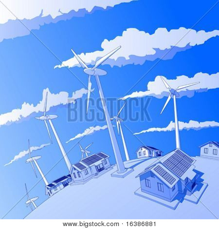 Industry concept: wind-driven generators & houses with solar power systems