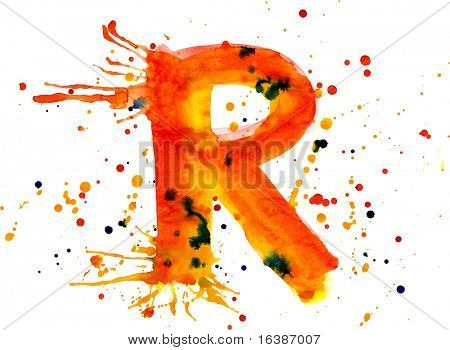watercolor paint - letter R