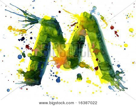 watercolor paint - letter M