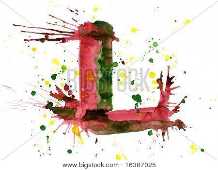 watercolor paint - letter L