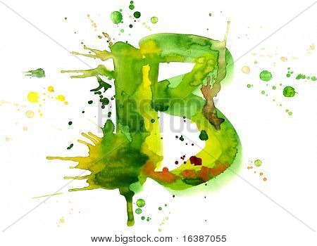 watercolor paint - letter B