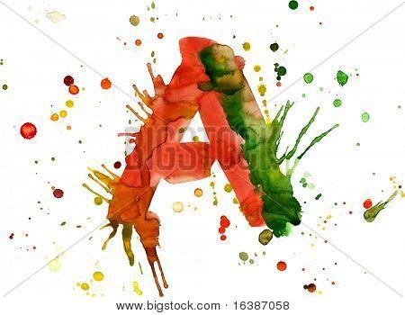 watercolor paint - letter A
