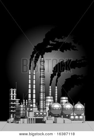 Industry concept: abstract plant with smokey sky