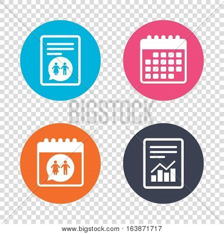 Report document, calendar icons. Toilet sign icon. Restroom or lavatory speech bubble symbol. Transparent background. Vector