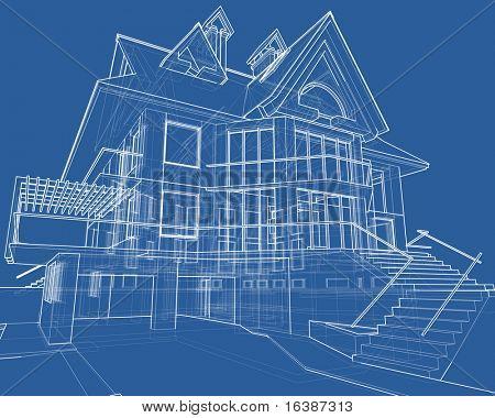 house blueprint: 3d technical draw