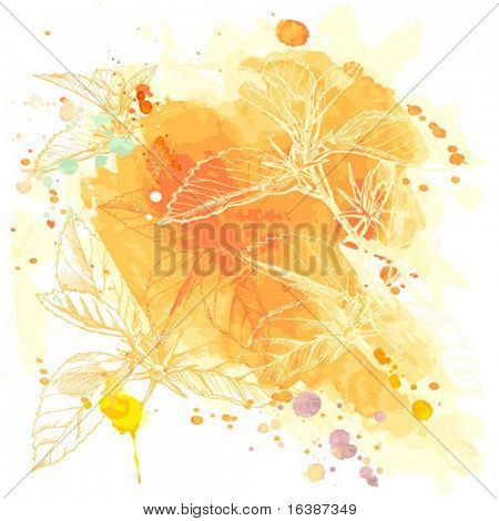 Vector Watercolor Background & Tropical Flowers - Hibiscus