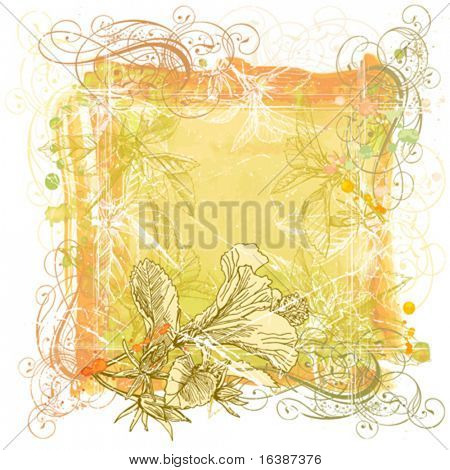 Hibiscus flowers, vintage calligraphy ornament & watercolor background