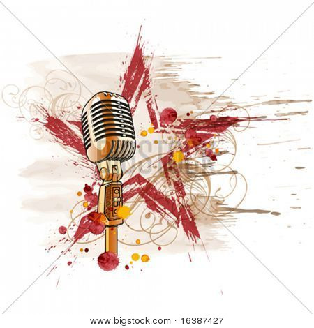 Rock star. Microphone, grunge watercolor star & floral ornament