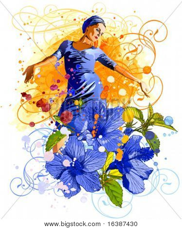 The charming girl on an orange watercolor background, tropical flowers - Hibiscus & vintage floral ornament