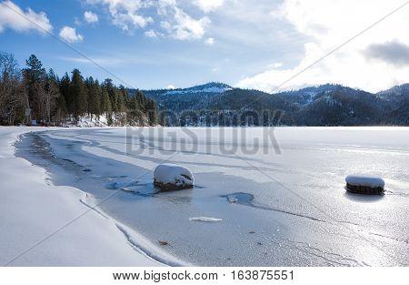 Frozen Spirit Lake during winter in Spirit Lake Idaho.