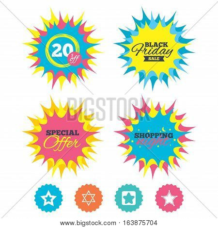 Shopping night, black friday stickers. Star of David icons. Sheriff police sign. Symbol of Israel. Special offer. Vector