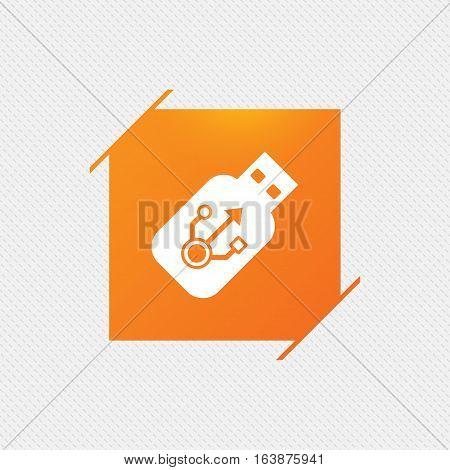 Usb sign icon. Usb flash drive stick symbol. Orange square label on pattern. Vector