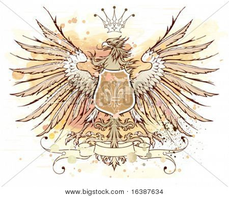 Vintage heraldic emblem (eagle, crown & ribbon, shield & lily). Watercolor background. Elements on separate layers