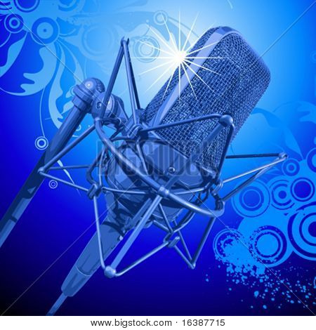 professional microphone in beams of blue light and floral background