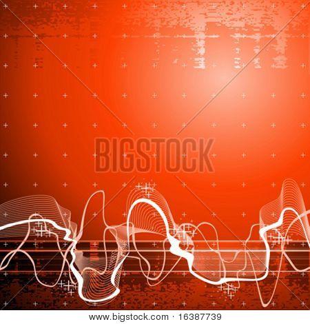 Fondo de tecnología de la onda acústica, rojo