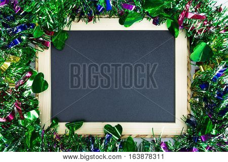 Blackboard and christmas ornament decoration blank frame for insert message