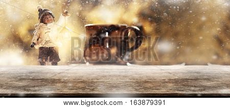 Panorama Vintage Wooden Tabletop With Blurry Young Boy Toy Holding Lamp Lantern Behind Christmas Sno