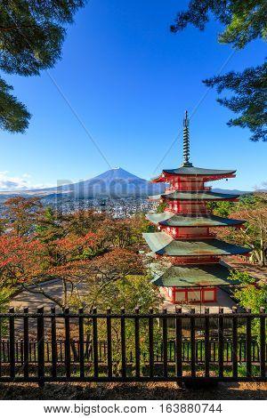 Mt. Fuji with Chureito Pagoda in autumn Fujiyoshida Japan