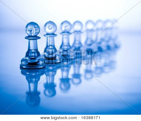 transparent chess & blue background