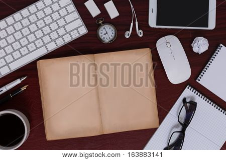 Messy Antique Style Of Business Desk Equipment And It Gadgets Flat Lay Display Of Blank Antique Book