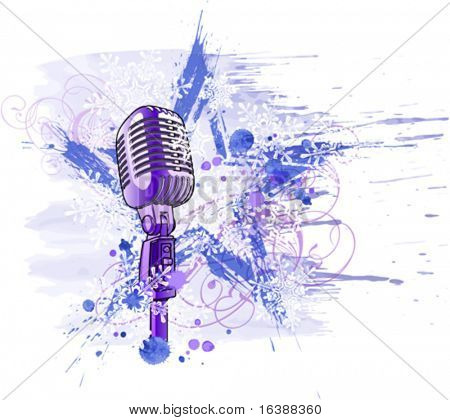 Rock star. Microphone, grunge watercolor star, floral ornament & snowflakes