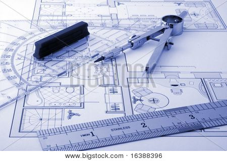 architecture blueprint & drawing instruments