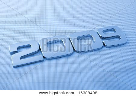 Metal digits - 2009 & technology background See all metal letters in my portfolio
