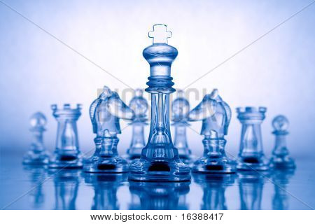 Transparent chess on a blue background