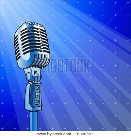 Professional microphone & blue technology background